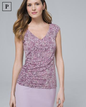 White House Black Market Women's Petite Shirred Top