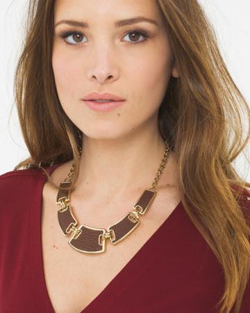 White House Black Market Women's Leather Detail Statement Necklace