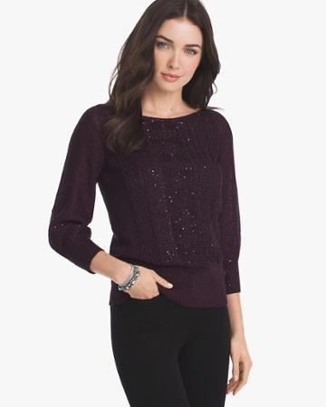 White House Black Market Women's Sequin Pullover Sweater