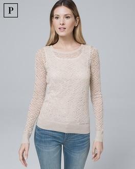 White House Black Market Petite Faux-pearl Shimmer Sweater