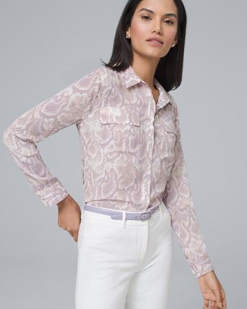 White House Black Market Women's Python Soft Shirt