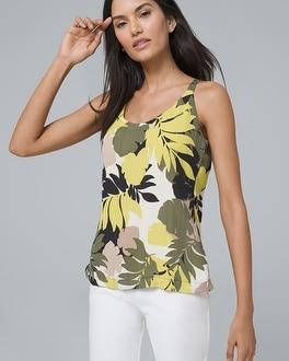 White House Black Market Ultimate Reversible Tropical Floral/solid Camisole