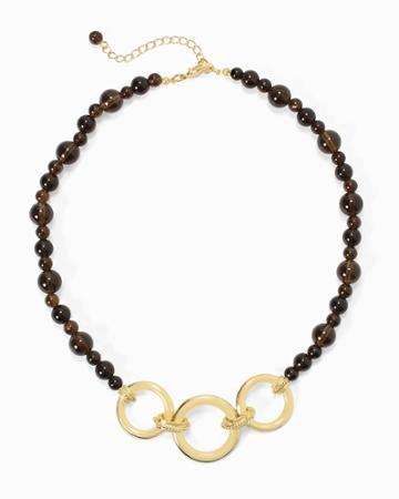 White House Black Market Women's Smokey Quartz Goldtone Chain-link Short Necklace