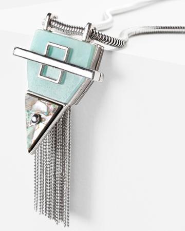 White House Black Market Women's Abalone Angular Fringe Pendant Necklace