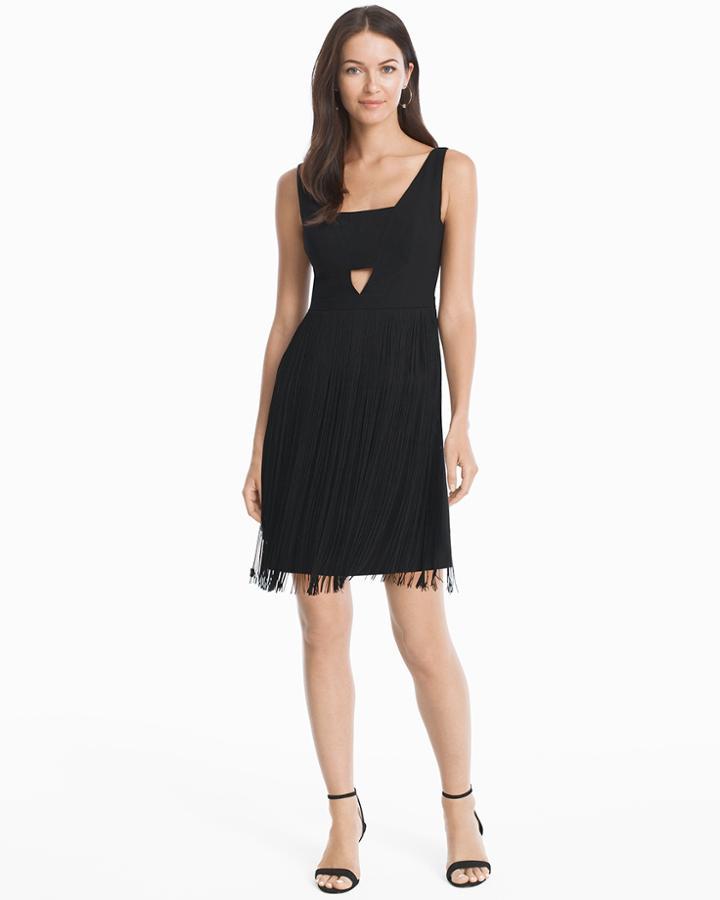 White House Black Market Women's Aidan Mattox Black Cutout Fringe Cocktail Dress