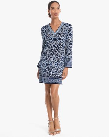 White House Black Market Women's Long-sleeve Printed Knit Shift Dress
