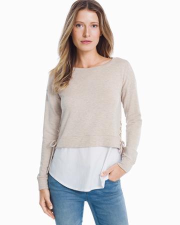White House Black Market Women's Long Sleeve Lace Up Sweatshirt And Poplin Twofer