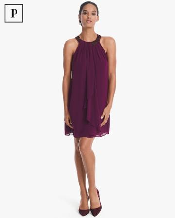 White House Black Market Women's Petite Embellished Neck Ruffle Front Dress