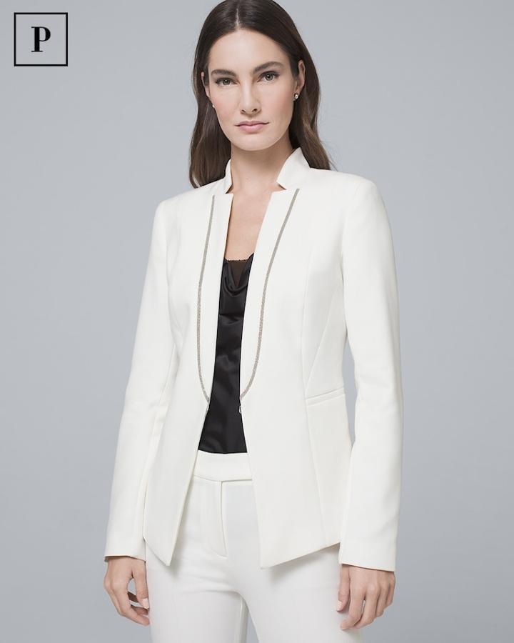 White House Black Market Women's Petite Ball-chain Suiting Blazer