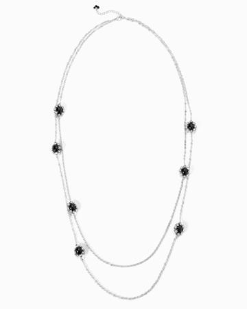White House Black Market Women's Jet-stone Flower Double-strand Necklace