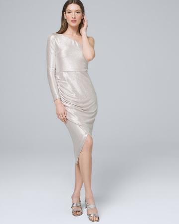 White House Black Market Women's Aidan Mattox Metallic One-shoulder Dress