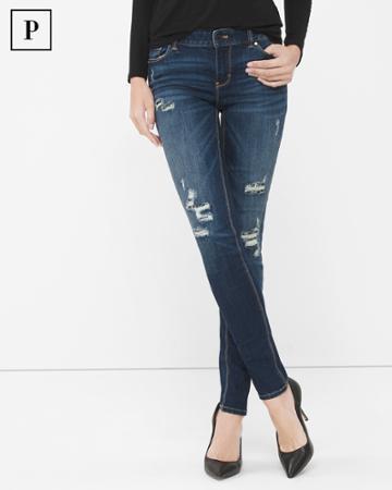 White House Black Market Women's Petite Destructed Sequin Skinny Jeans