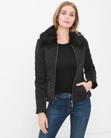 White House Black Market Women's Faux-fur Collar Quilted Puffer Jacket