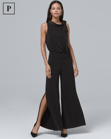 White House Black Market Women's Petite Tie-neck Black Split-leg Jumpsuit