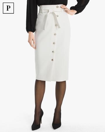 White House Black Market Women's Petite Asymmetrical Button-front Pencil Skirt