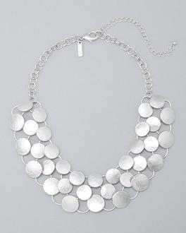 White House Black Market Silvertone Circle-link Collar Necklace