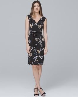 White House Black Market Reversible Floral/solid Black Faux Wrap Knit Dress