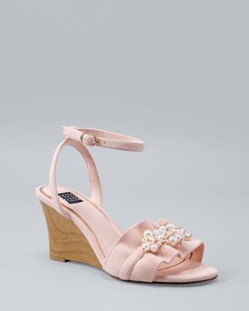 White House Black Market Women's Ruffled Wedge Sandals