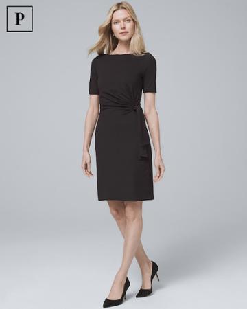 White House Black Market Women's Petite Side-tie Black Knit Shift Dress