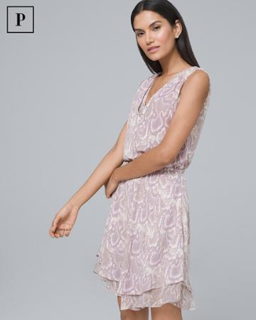 White House Black Market Women's Petite Embellished Neck Soft Blouson Dress