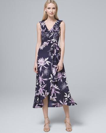 White House Black Market Women's Vince Camuto Ruffle-neck Faux-wrap Dress