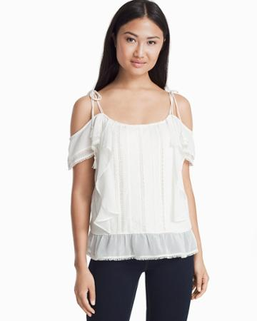 White House Black Market Women's Embroidered Cold-shoulder Top