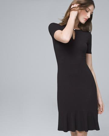 White House Black Market Women's Flounce-hem Black Knit Dress