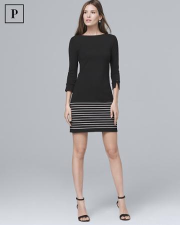 White House Black Market Women's Petite Stripe-hem Knit Shift Dress