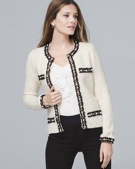 White House Black Market Faux Pearl-detail Sweater Jacket