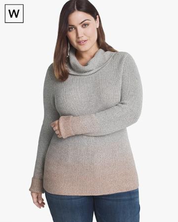 White House Black Market Women's Plus Ombre Cowl Neck Pullover Sweater