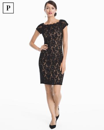 White House Black Market Women's Petite Cap-sleeve Lace Sheath Dress
