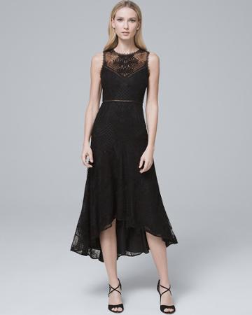 White House Black Market Women's Ml Monique Lhuillier Lace-detail Black High-low Fit-and-flare Dress