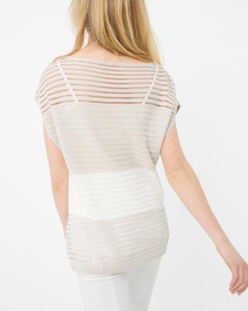 White House Black Market Women's Shadow Stripe Boatneck Sweater