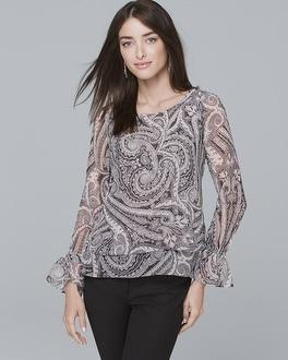 White House Black Market Bell-cuff Paisley Blouse