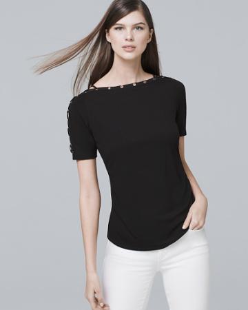 White House Black Market Women's Lace Up-sleeve Tee