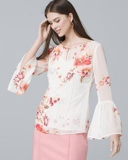 White House Black Market Floral Pintucked Blouse