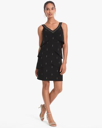 White House Black Market Women's Stud-detail Black Knit Tiered Dress