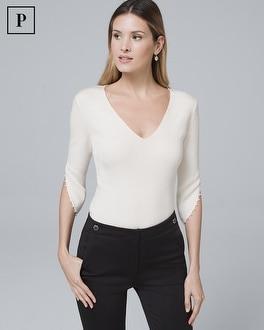 White House Black Market Petite Faux Pearl-sleeve Sweater
