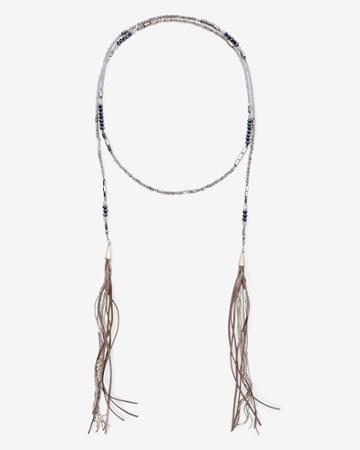 White House Black Market Women's Beaded Leather Double-tassel Lariat Necklace