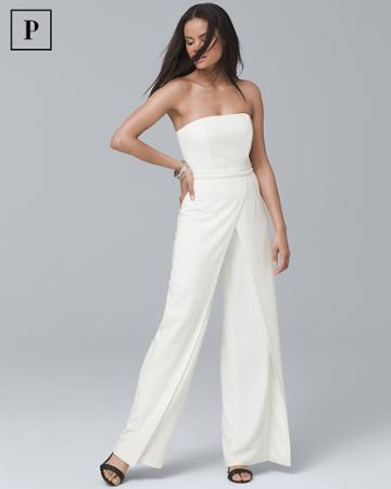 White House Black Market Women's Petite Convertible White Strapless Split-leg Jumpsuit