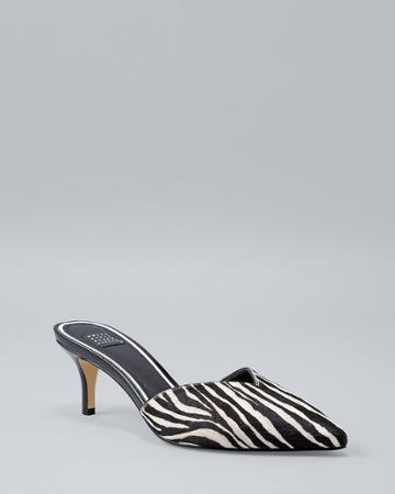 White House Black Market Women's Zebra Calf Hair Mules