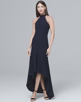 White House Black Market Ml Monique Lhuillier Halter-neck High-low Gown