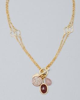 White House Black Market Convertible Strawberry Quartz & Sunstone Charm Pendant Necklace