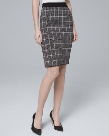 White House Black Market Women's Windowpane Sweater Skirt