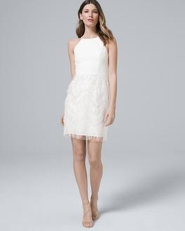 White House Black Market Aidan Mattox Embellished-fringe White Dress