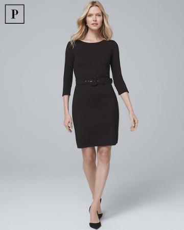 White House Black Market Women's Petite Belted Black Knit Dress