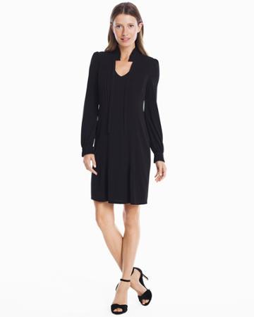 White House Black Market Women's Long Sleeve Black Mock Neck Knit Pleated Dress