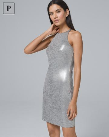 White House Black Market Women's Petite Metallic Halter Dress