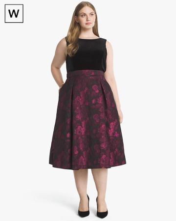 White House Black Market Women's Plus Sleeveless Velvet Bodice Jacquard Fit-and-flare Dress