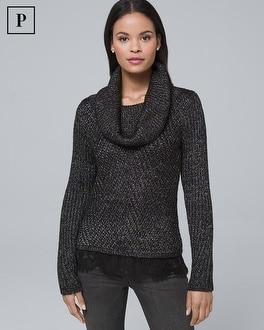 White House Black Market Petite Cowl Neck Twofer Sweater